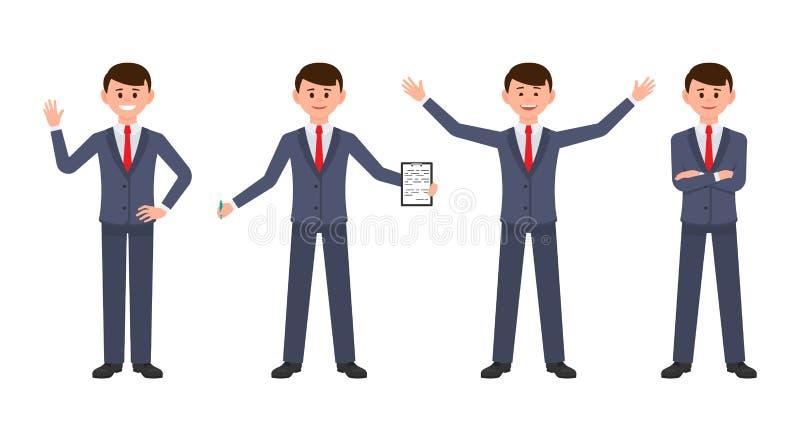 Glücklicher Geschäftsmann in der Zeichentrickfilm-Figur der dunkelblauen Klage Vektorillustration des erfolgreichen Büromannes vektor abbildung