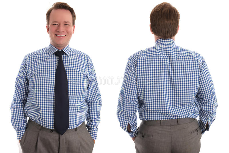 Glücklicher Geschäftsmann, Front und Rückseite stockfoto