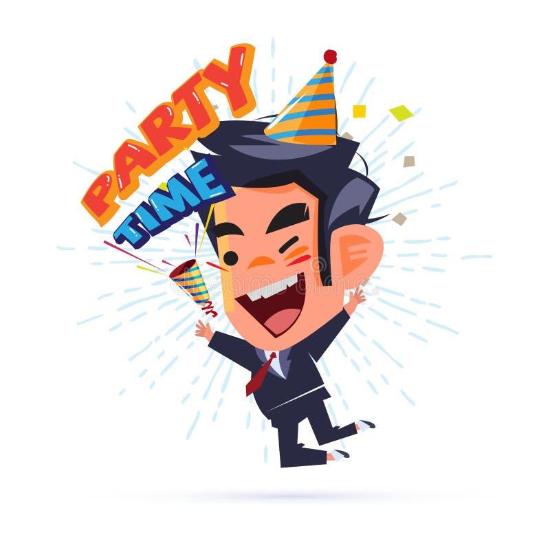Glücklicher Geschäftsmann Happy und Springen mit ` Partei-Zeittext ` Parteipopkornmaschine Wochenendenpartei und erfolgreich -kon vektor abbildung