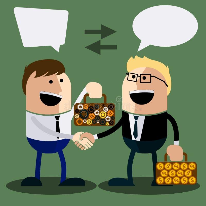 Glücklicher Geschäftsmann machen Händedruck stock abbildung
