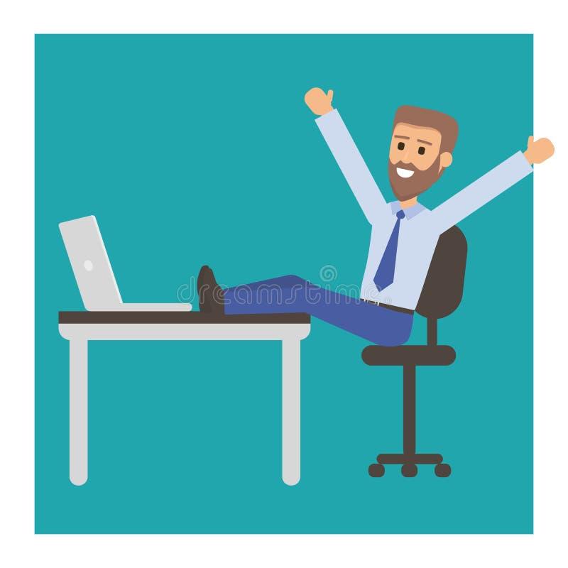 Glücklicher Geschäftsmann mit Bart oder Manager sitzt in einem Stuhl, seine Füße auf dem Tisch Erfolgreicher Mann, der Rest auf A lizenzfreie abbildung