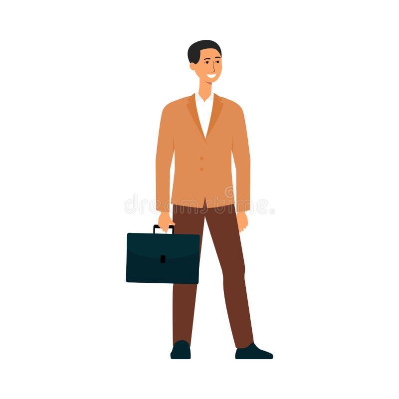 Glücklicher Geschäftsmann mit dem Kofferlächeln, Berufszeichentrickfilm-figur stehenden in der Unternehmensklage und Aufwartung vektor abbildung
