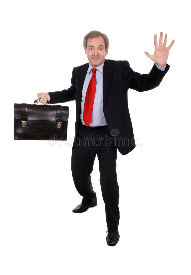 Glücklicher Geschäftsmann mit einem Aktenkoffer stockbilder