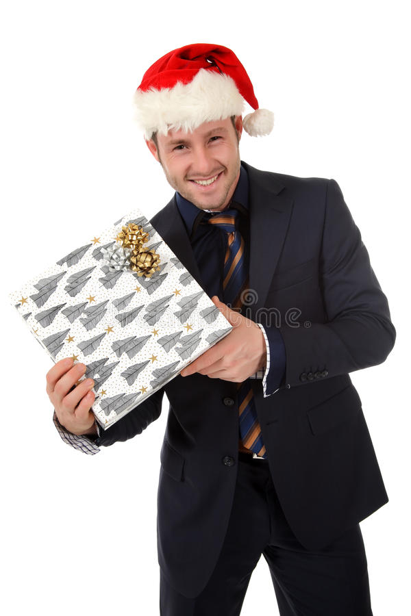 Glücklicher Geschäftsmann mit Sankt-Hut, Geschenk stockbilder