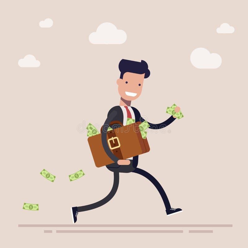 Glücklicher Geschäftsmann oder Manager läuft mit einem Koffer, der vom Geld voll ist Das Konzept des Diebstahles oder des Bestech lizenzfreie abbildung