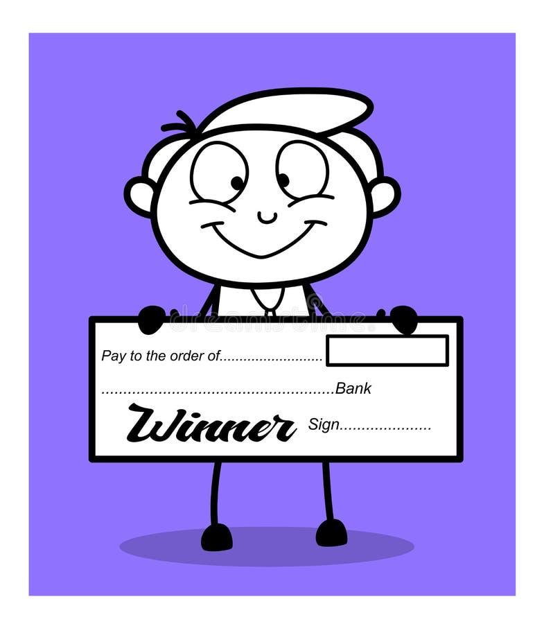 Glücklicher Geschäftsmann Showing Winner Cheque lizenzfreie abbildung