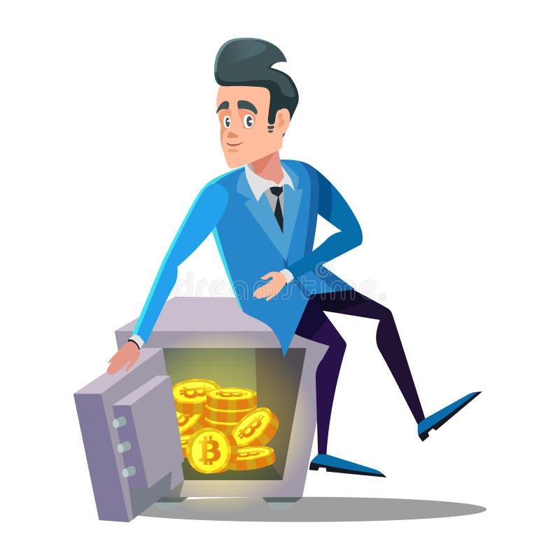 Glücklicher Geschäftsmann Sitting auf sicherem voll von Bitcoin Schlüsselwährungssicherheits-Technologie lizenzfreie abbildung