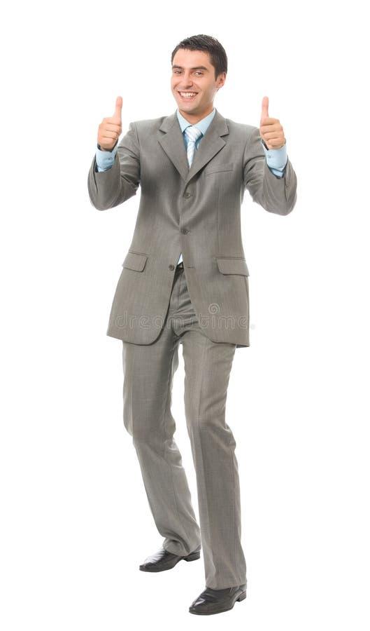 Glücklicher gestikulierender Geschäftsmann stockfotos