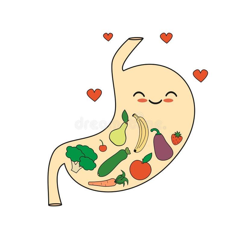 Glücklicher gesunder Magen der netten Karikatur mit Gemüse- und Fruchtkonzeptillustration stock abbildung