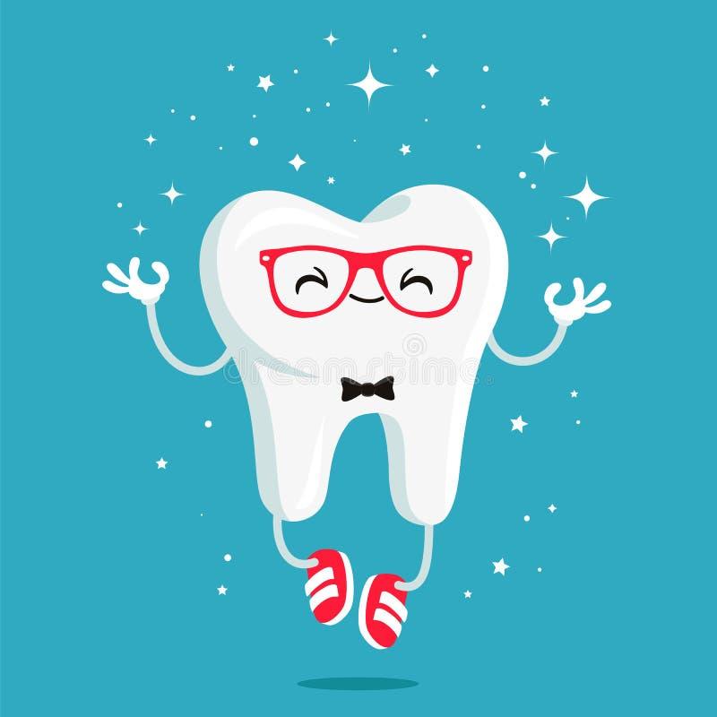 Glücklicher gesunder Zahn in den roten Gläsern lizenzfreie abbildung