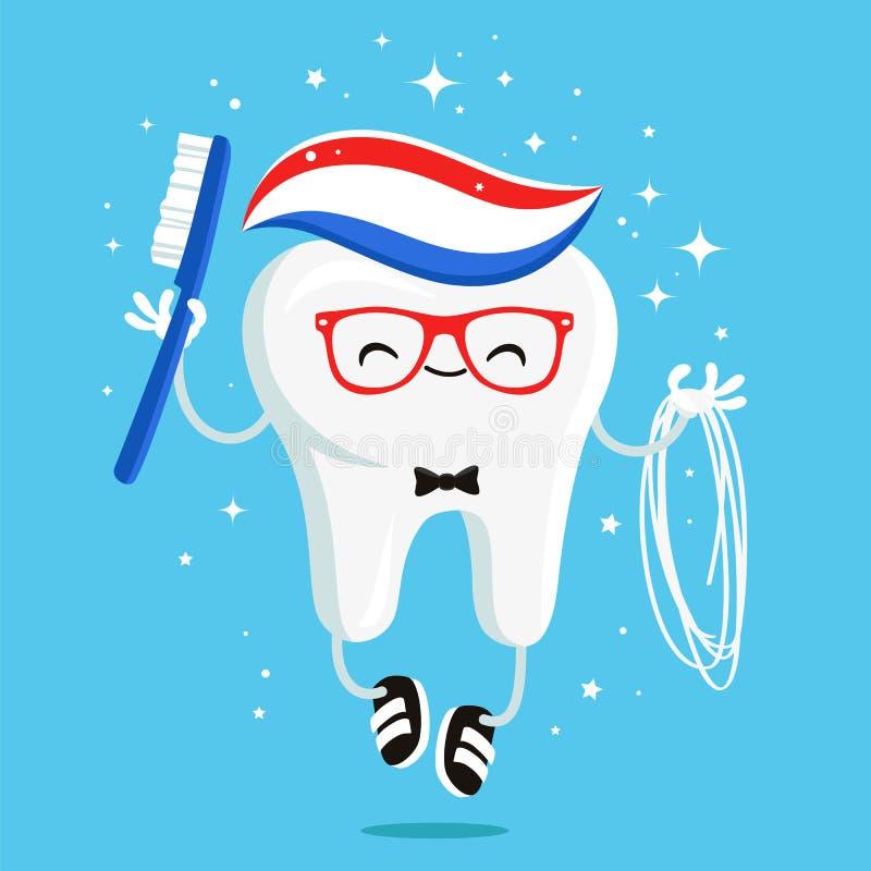Glücklicher gesunder Zahn mit Zahnpasta und Glasschlacke stock abbildung