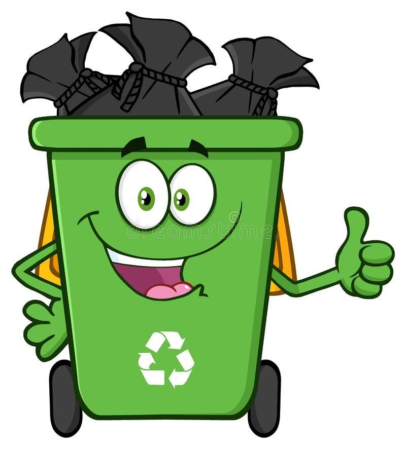 Glücklicher grüner Papierkorb-Karikatur-Maskottchen-Charakter voll mit den Abfall-Taschen, die einen Daumen aufgeben lizenzfreie abbildung