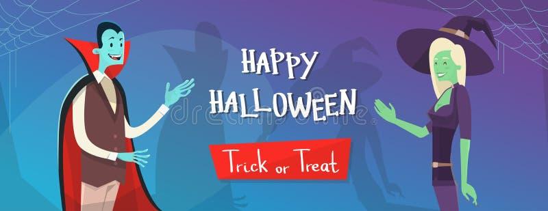 Glücklicher Halloween-Fahnen-Einladungs-Karten-Vampir und Hexen-Zeichentrickfilm-Figur vektor abbildung