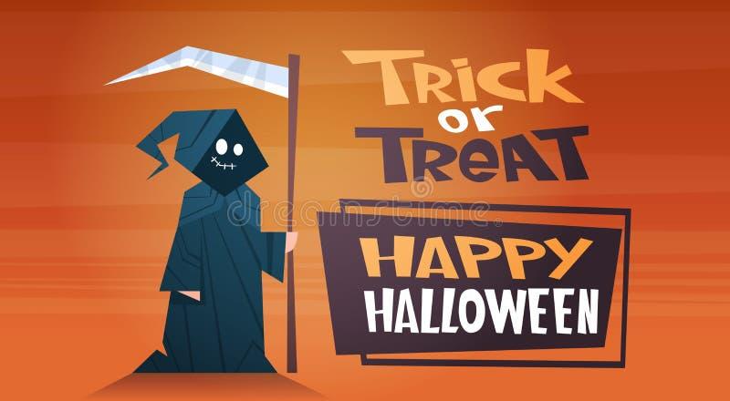 Glücklicher Halloween-Fahnen-Feiertags-Dekorations-Horror-Partei-Gruß-Karten-netter Karikatur-Tod Süßes sonst gibt's Saures stock abbildung