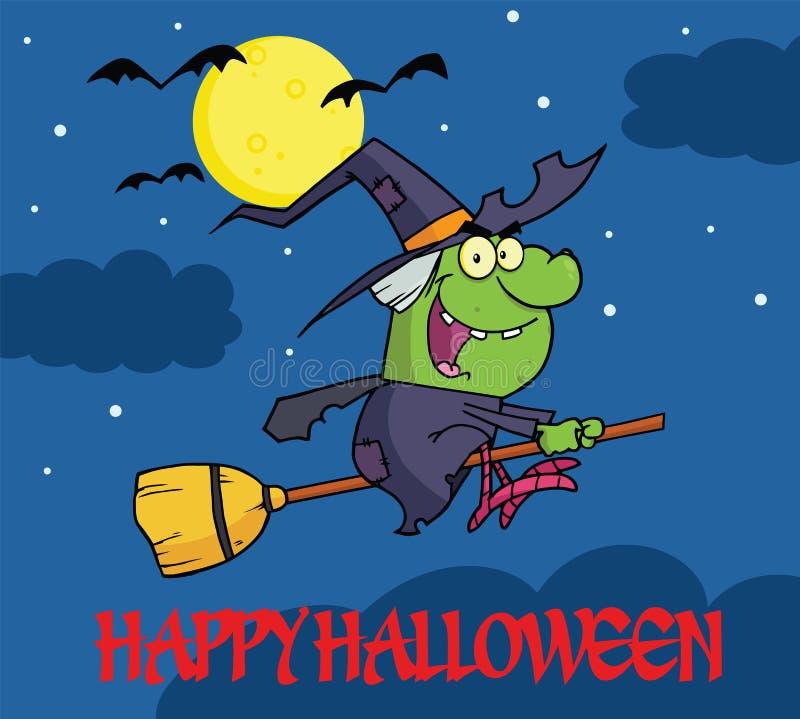 Glücklicher Halloween-Gruß mit Hexen-Fahrt ein Besenstiel in der Nacht stock abbildung