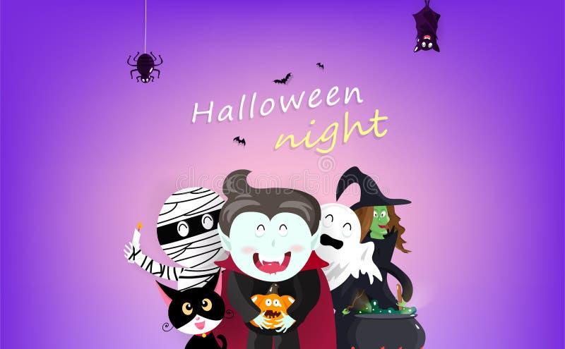 Glücklicher Halloween-, Grußkarten-, Nachtpartei-, Vampirs-, Hexen-, Mama-, Schläger-, Spinnen-, Katzen- und Kürbiszeichentrickfi stock abbildung