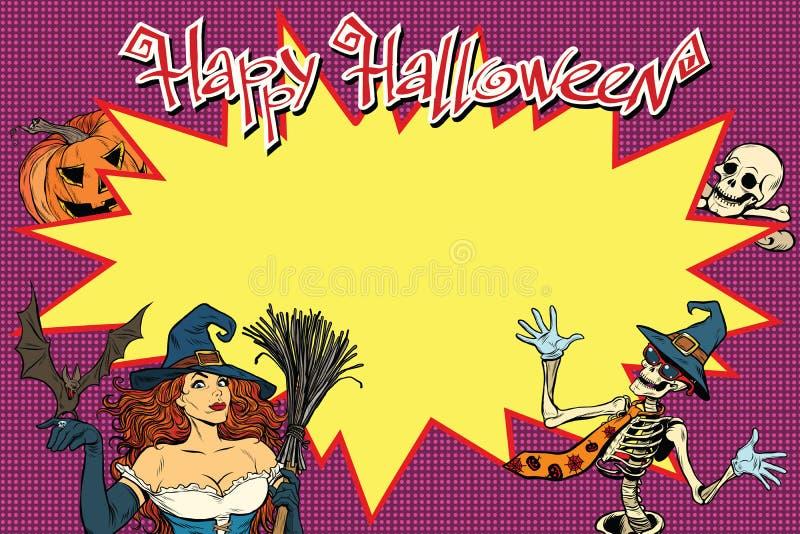 Glücklicher Halloween-Hintergrund mit Hexe, dem Skelett und Kürbis stock abbildung
