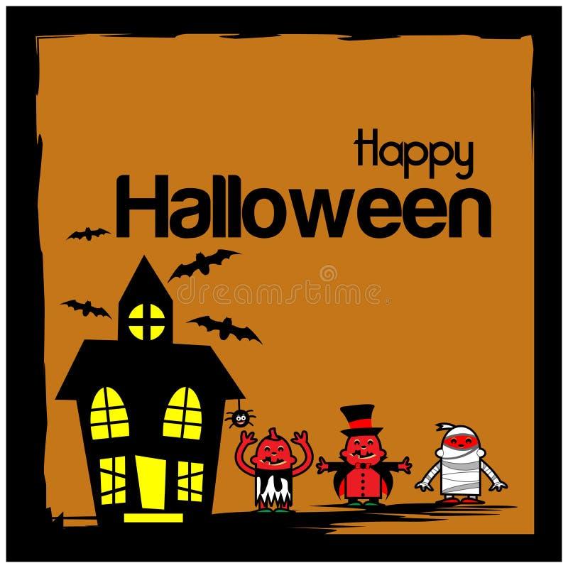 Glücklicher Halloween-Hintergrund mit Halloween-Kostümcharakteren stock abbildung