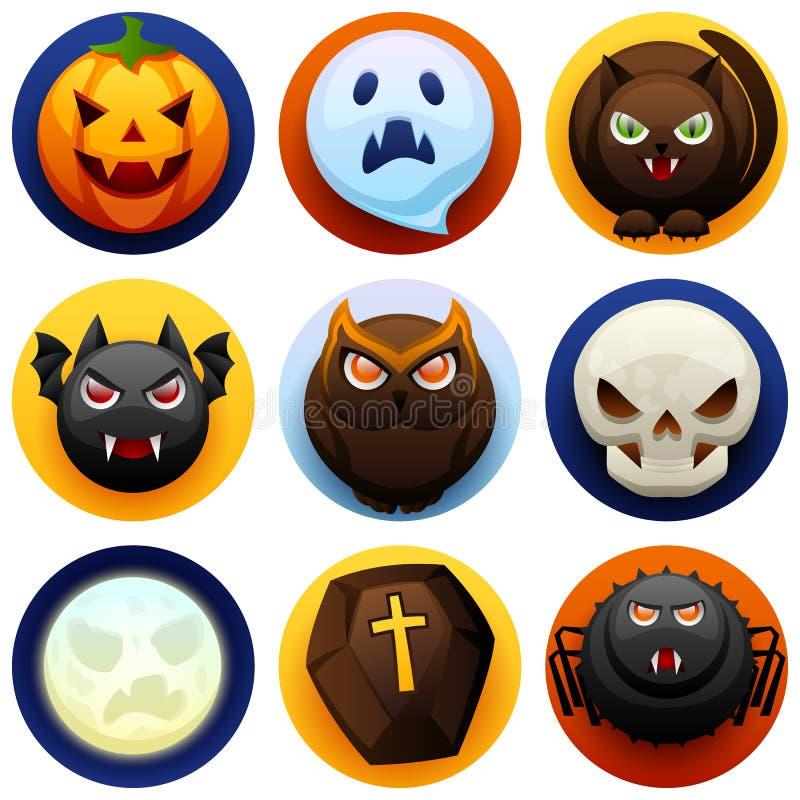 Glücklicher Halloween-Ikonen-Satz stock abbildung