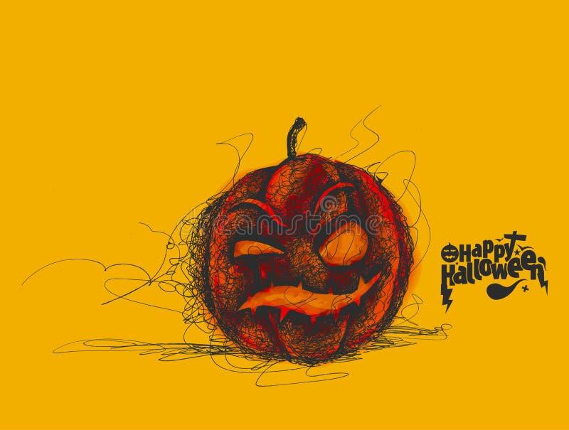 Glücklicher Halloween-Kürbis lokalisiert auf gelbem Hintergrund lizenzfreie abbildung