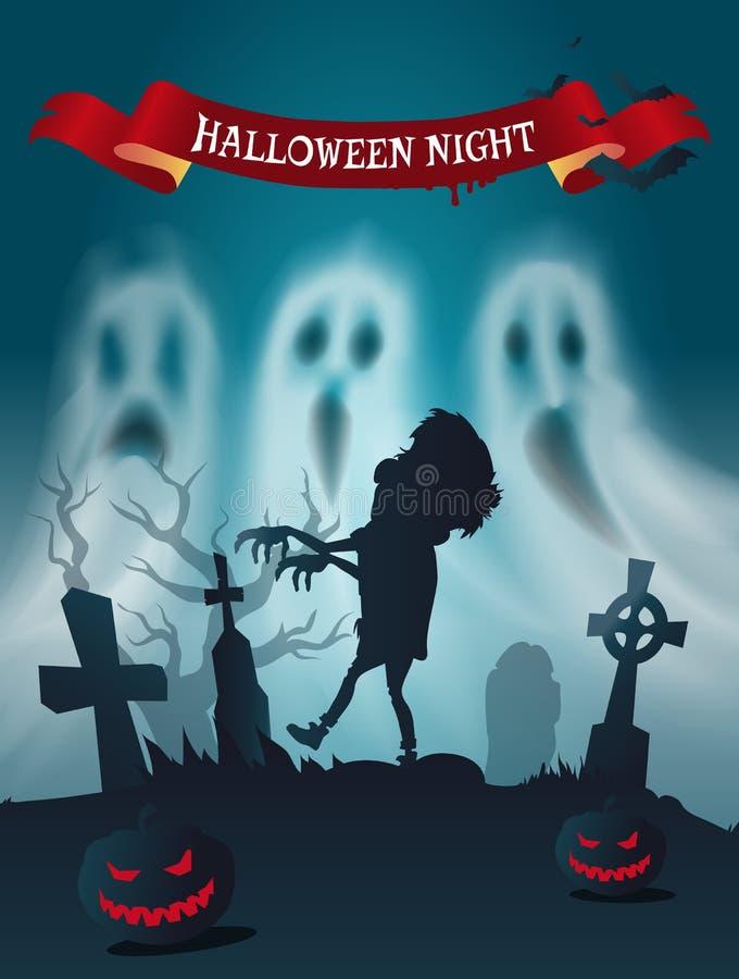 Glücklicher Halloween-Kirchhof mit Zombie-Plakat-Vektor stock abbildung