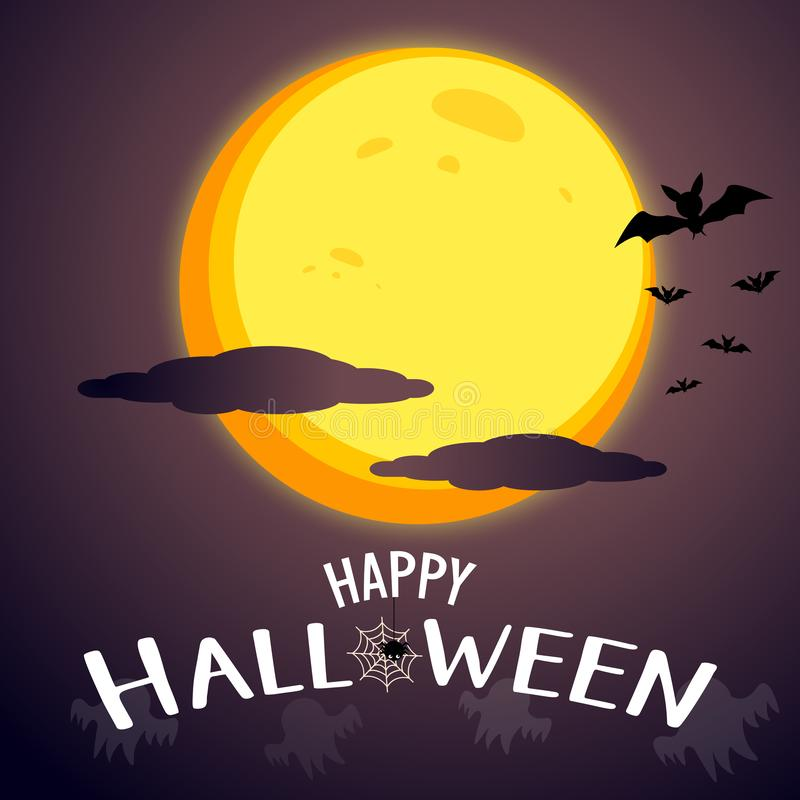 Glücklicher Halloween-Mitteilungsgrafikdesignhintergrund mit Supermond und bewölkt Grausigkeit und frequentiertes Konzept Furchts stock abbildung