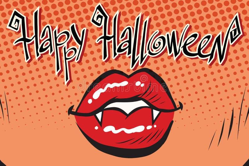 Glücklicher Halloween-Mundfrauvampir stock abbildung