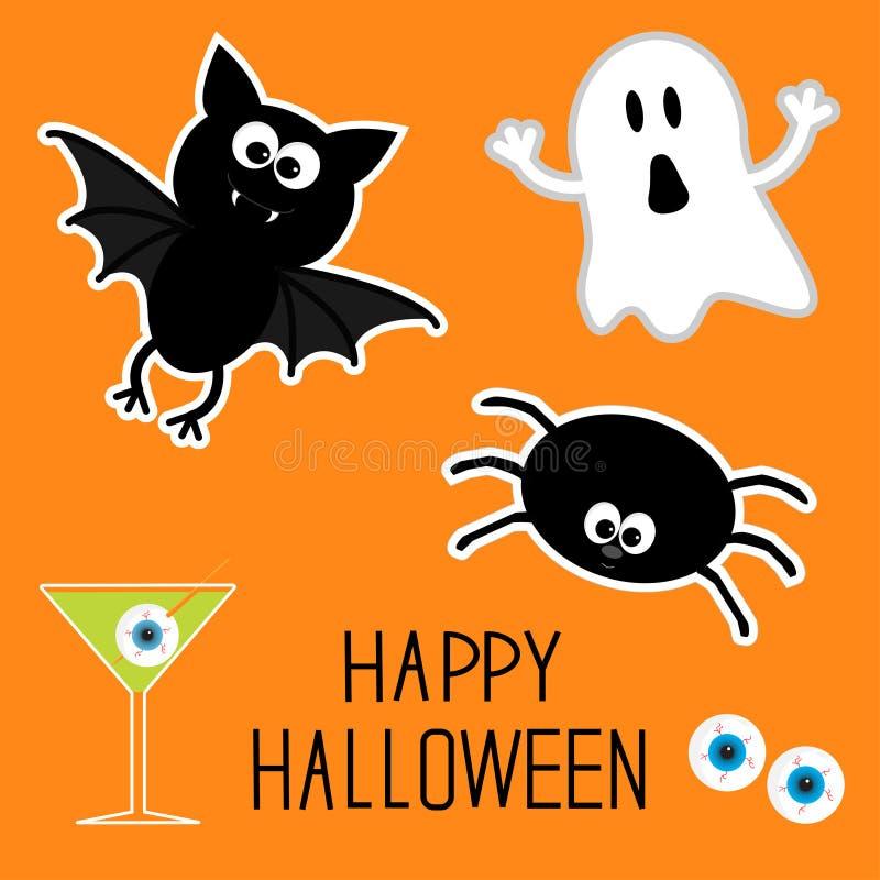 Glücklicher Halloween-Satz. Geist, Schläger, Spinne, Augen, Martini. Karte. stock abbildung