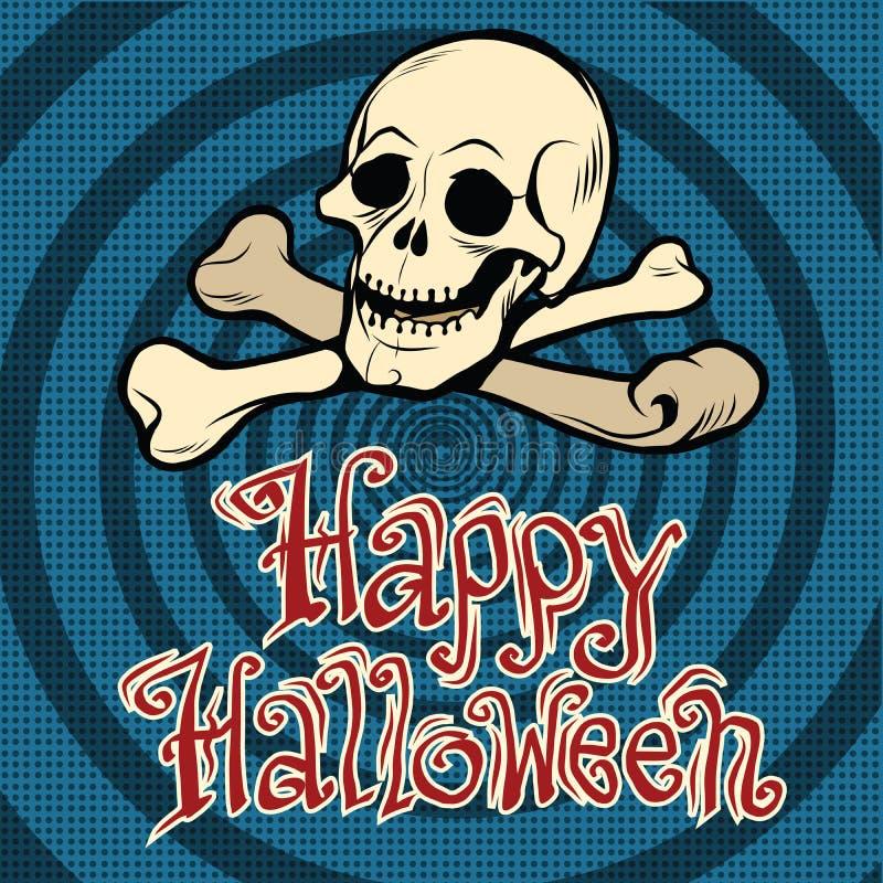 Glücklicher Halloween-Schädel und -knochen stock abbildung