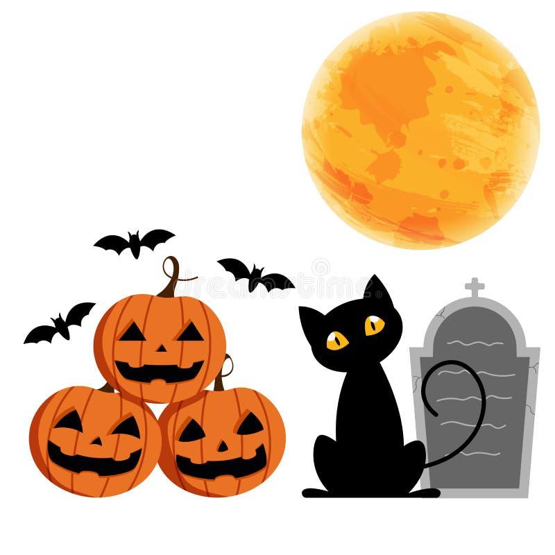 Glücklicher Halloween-Tag, furchtsames des netten Kürbislächelns gespenstisches aber nettes w vektor abbildung