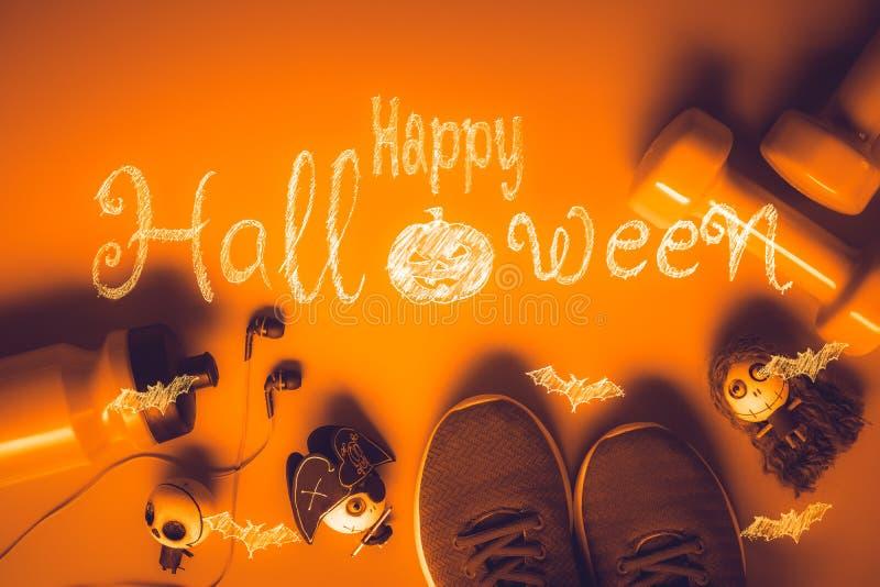 Glücklicher Halloween-Tag mit Eignung, Übung, Ausarbeiten gesund lizenzfreie stockbilder