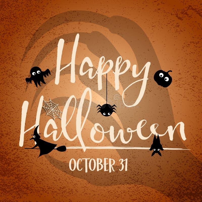 Glücklicher Halloween-Tag mit Hexenhandschatten im Hintergrund Schläger und Spinnennetzelemente Feiertag und Festivalkonzept Geis stock abbildung