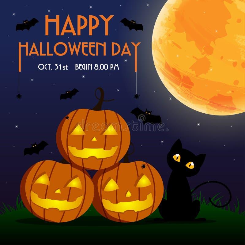 Glücklicher Halloween-Tag, -schläger und -spinne auf Text, nettes Kürbis-SMI vektor abbildung