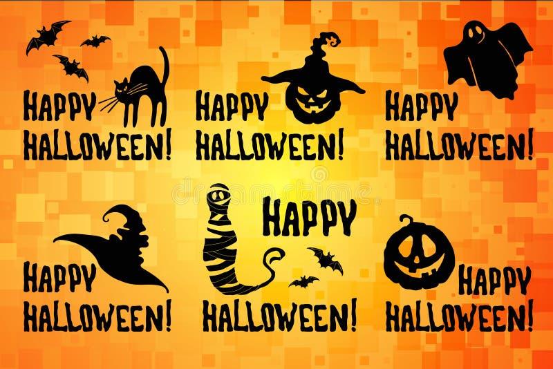 Glücklicher Halloween-Titel stellte mit Kürbis, Hexenhut ein vektor abbildung