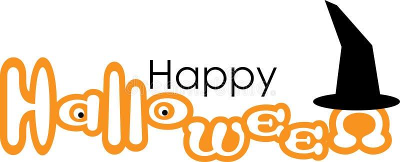 Glücklicher Halloween-Vektor mit Hexen-Hut lizenzfreie abbildung