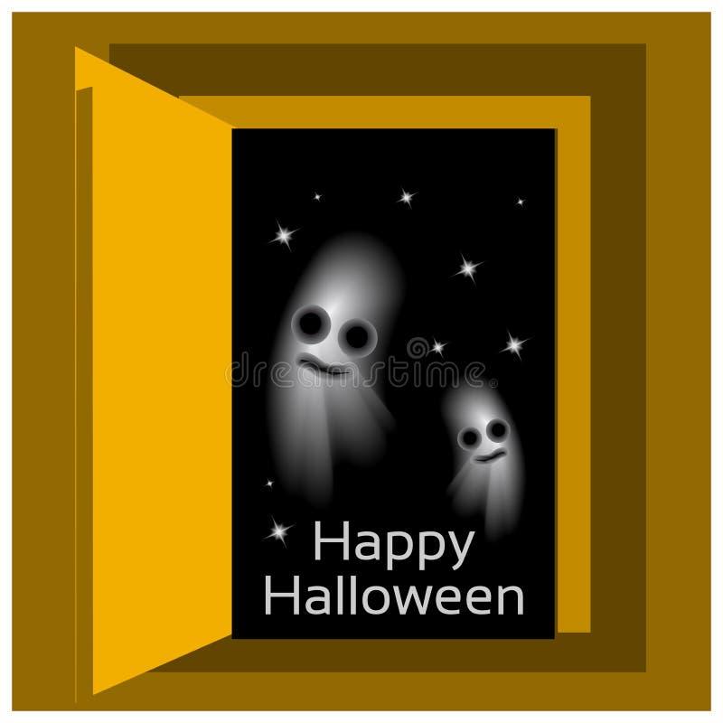 Glücklicher Halloween-Vektorentwurf mit Raumsternhintergrund vektor abbildung