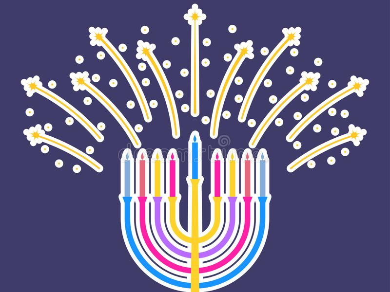 Glücklicher Hanukkah Kerzen getrennt auf Weiß Menorah mit neun Kerzen Feuerwerke funken Vektor vektor abbildung