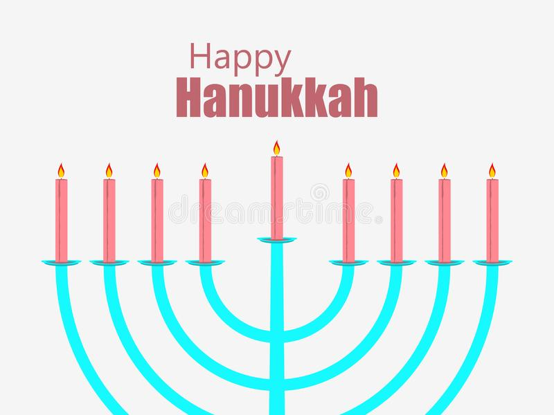 Glücklicher Hanukkah Kerzen getrennt auf Weiß Menorah mit neun Kerzen Vektor vektor abbildung