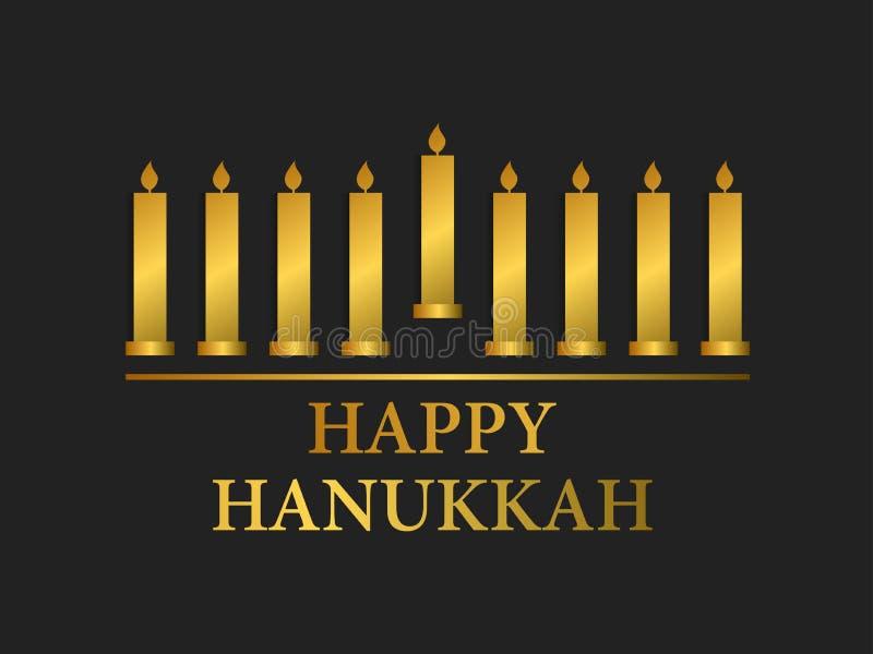 Glücklicher Hanukkah Menorah mit neun Kerzen Goldsteigung Vektor vektor abbildung