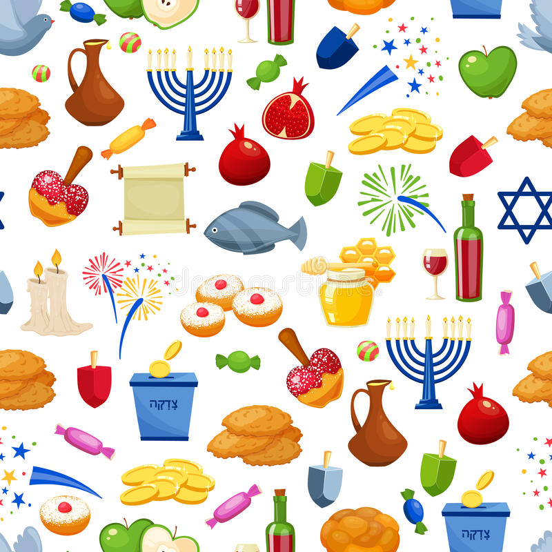 Glücklicher Hanukkah Nahtloser vektorhintergrund Jüdische Feiertagsillustration der Karikaturart stock abbildung