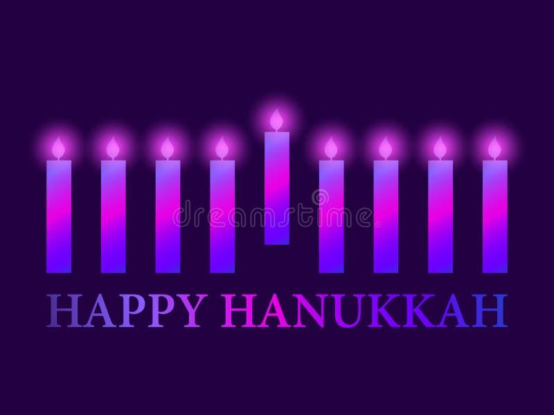 Glücklicher Hanukkah Plakat mit neun Kerzen, violette Steigung Vektor stock abbildung