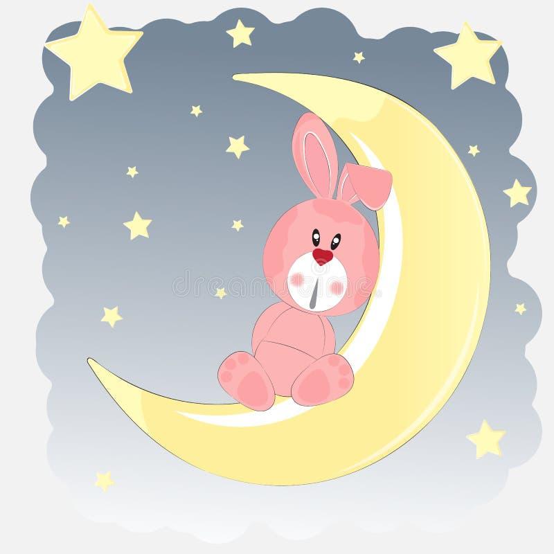 Glücklicher Hase, der auf dem Mond sitzt lizenzfreie abbildung