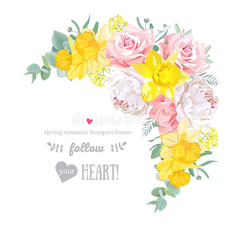 Glücklicher heller Blumenvektorrahmen mit Pfingstrose, stieg, Narzisse, Gartennelke, eucaliptus auf Weiß vektor abbildung