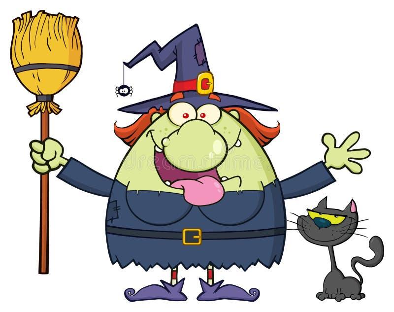 Glücklicher Hexen-Karikatur-Maskottchen-Charakter, der einen Besen mit schwarzer Katze hält lizenzfreie abbildung