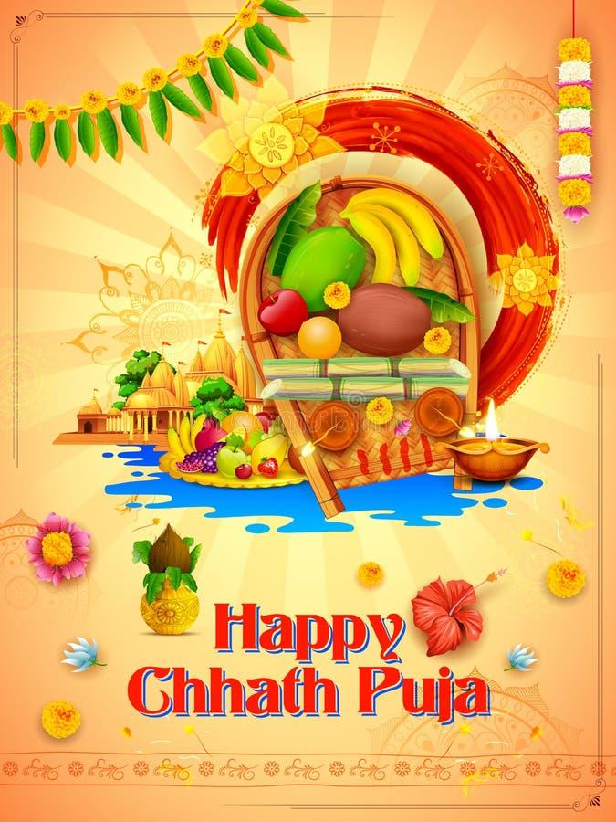 Glücklicher Hintergrund Chhath Puja Holiday für Sun-Festival von Indien stock abbildung