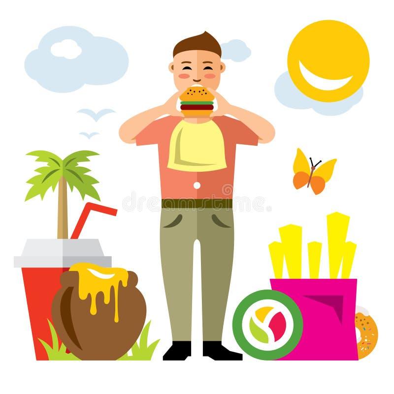 Glücklicher Hippie-Mann des Vektors mit Hamburger Flache Art bunte Karikaturillustration stock abbildung