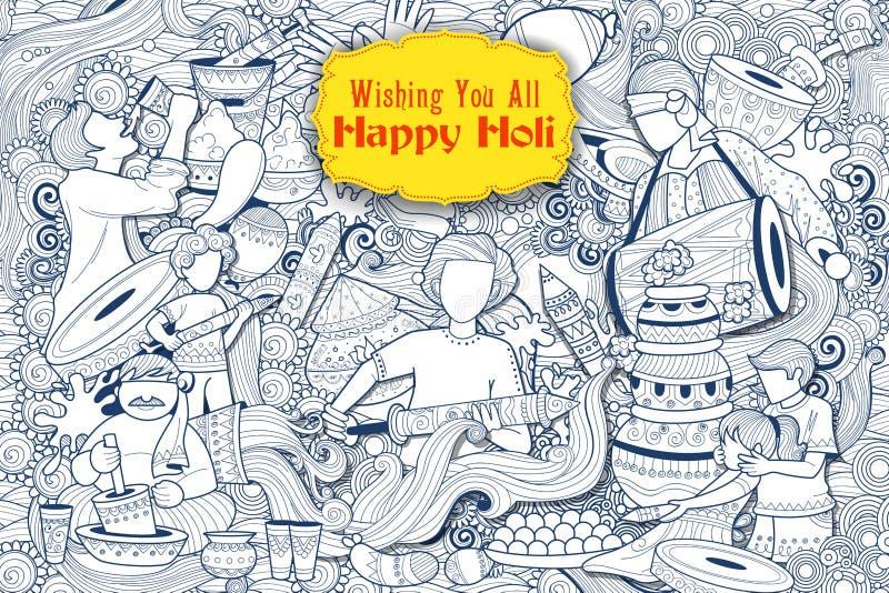 Glücklicher Holi-Gekritzel-Hintergrund für Festival von Farbfeiergrüßen vektor abbildung