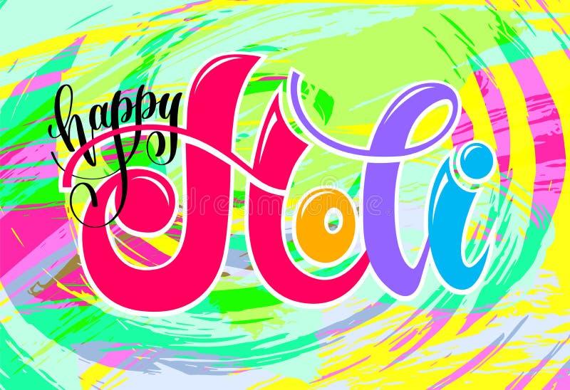 Glücklicher holi Handbeschriftungs-Aufschrifttext zu indischem Frühling holi lizenzfreie abbildung