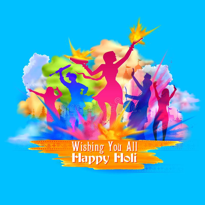 Glücklicher Holi-Hintergrund für Festival von Farbfeiergrüßen vektor abbildung
