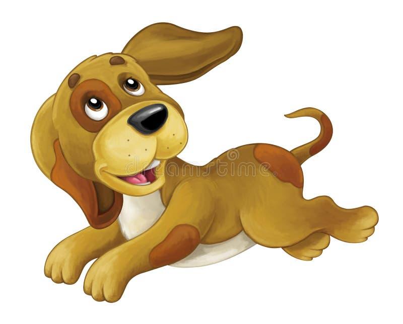 Glücklicher Hund der Karikatur ist springend und - künstlerische Art - lokalisiert schauend lizenzfreie abbildung